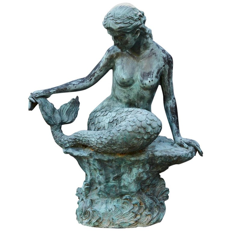 Large and Detailed Bronze Water Garden / Fountain Statue of Mermaid, 1940s For Sale
