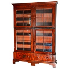 Large and Early 19th Century American Empire Flame Mahogany 3-Section Bookcase