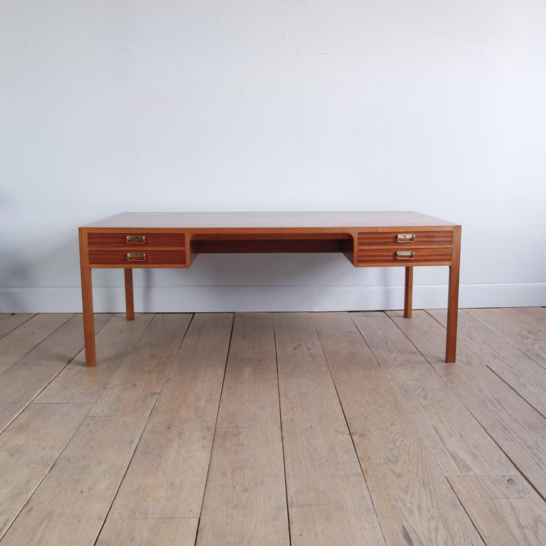 Scandinavian Modern Large and Exceptional Mahogany Desk by Bernt Petersen For Sale