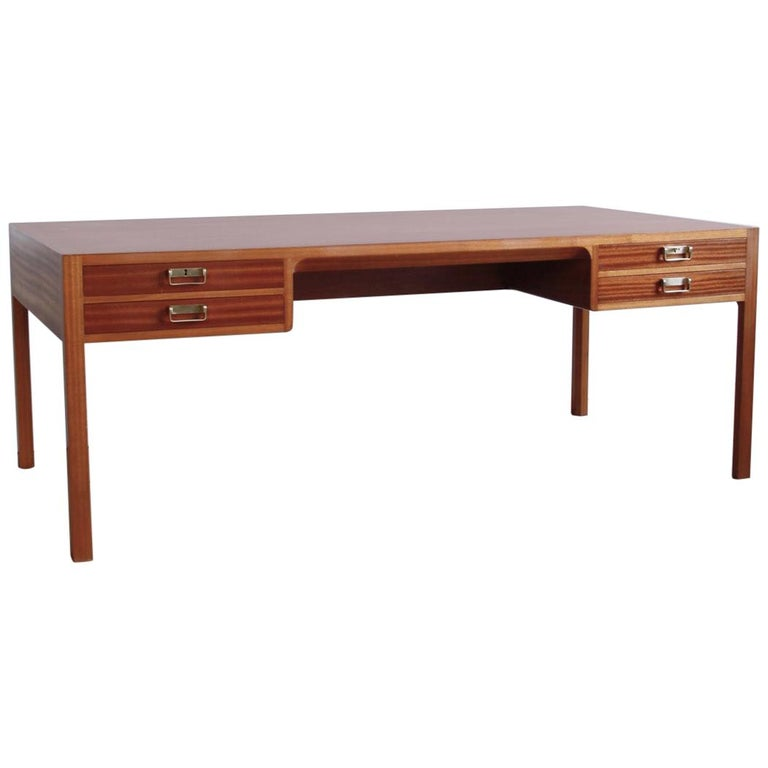 Large and Exceptional Mahogany Desk by Bernt Petersen For Sale