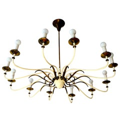 Large and Fabulous Midcentury Brass Chandelier