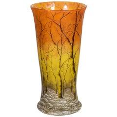 Large and Fine Daum Nancy Enameled Cameo Glass Winter Landscape Vase