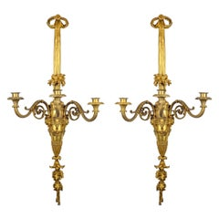 Large and Fine Pair of Henri Vian French Ormolu Three-Light Wall Light Sconces