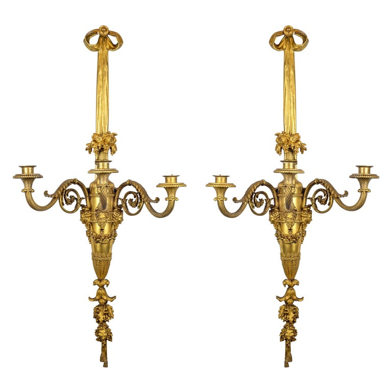 Large and Fine Pair of Henri Vian French Ormolu Three-Light Wall Light Sconces For Sale