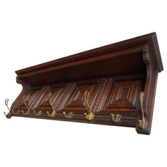 Large and Great Design Antique Wall Coat Rack with Perfect Hand Carved Details