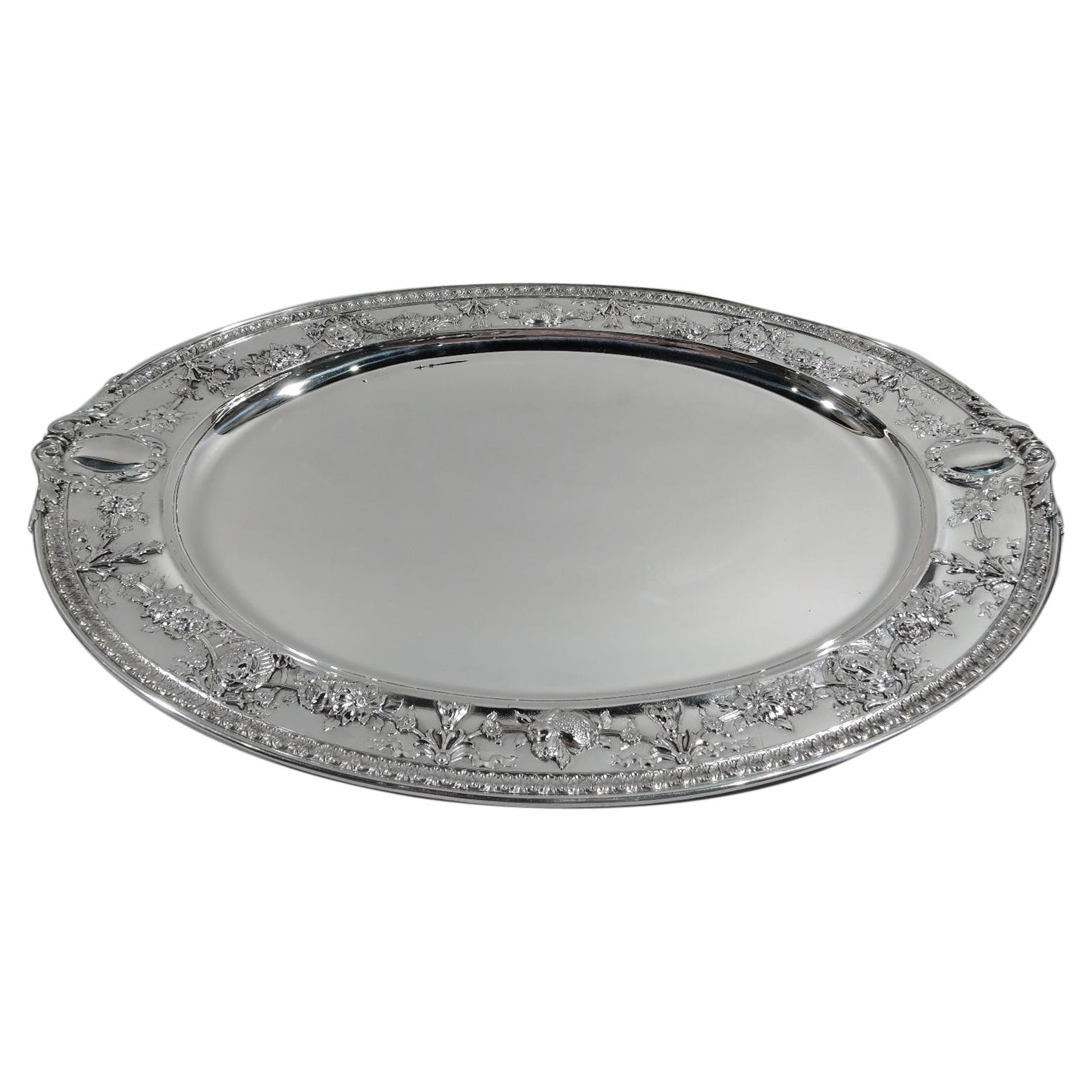 Large and Heavy Antique Gorham Sterling Silver Serving Tray