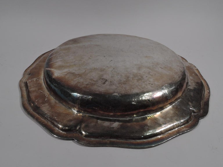Spanish Colonial Large and Heavy Antique South American Silver Centerpiece Charger For Sale