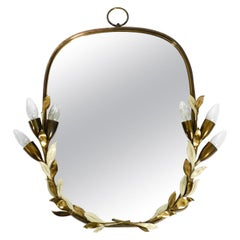 Large and Heavy Floral Brass Mirror with Lamps by Vereinigte Werkstätten