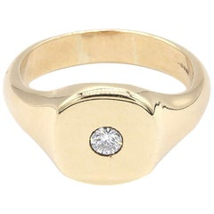 Large and Heavy Gentlemans 9 Kt Yellow Gold and Solitaire Diamond Signet Ring