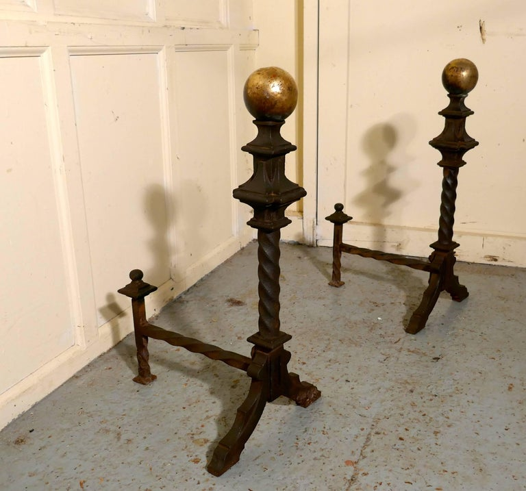 Gothic Large and Heavy Pair of French 19th Century Brass and Iron Andirons or Fire Dogs For Sale