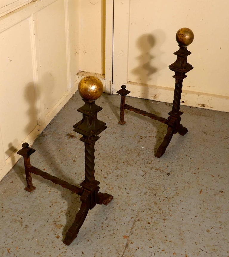 Large and Heavy Pair of French 19th Century Brass and Iron Andirons or Fire Dogs In Good Condition For Sale In ., GB