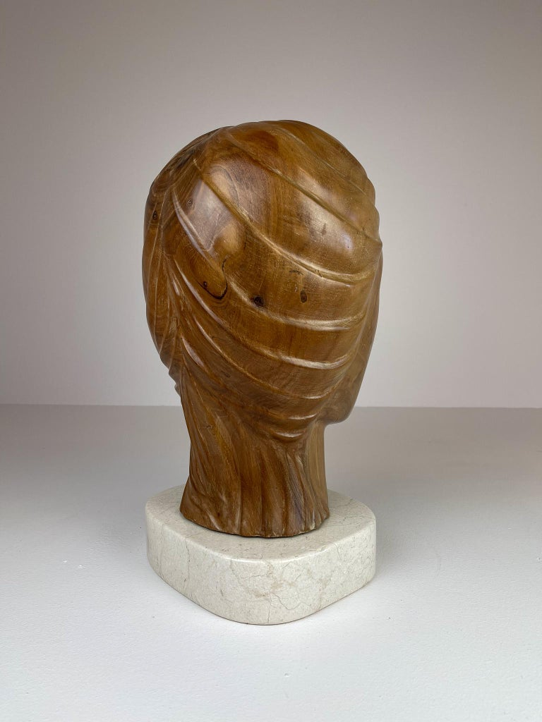 Large and Heavy Sculpture of a Female Face in Mahogany For Sale 4