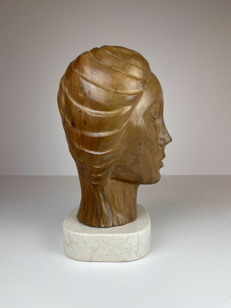 Large and Heavy Sculpture of a Female Face in Mahogany For Sale 5