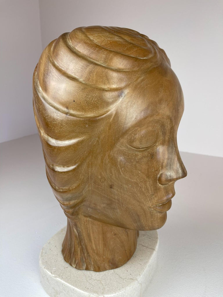 Large and Heavy Sculpture of a Female Face in Mahogany For Sale 6