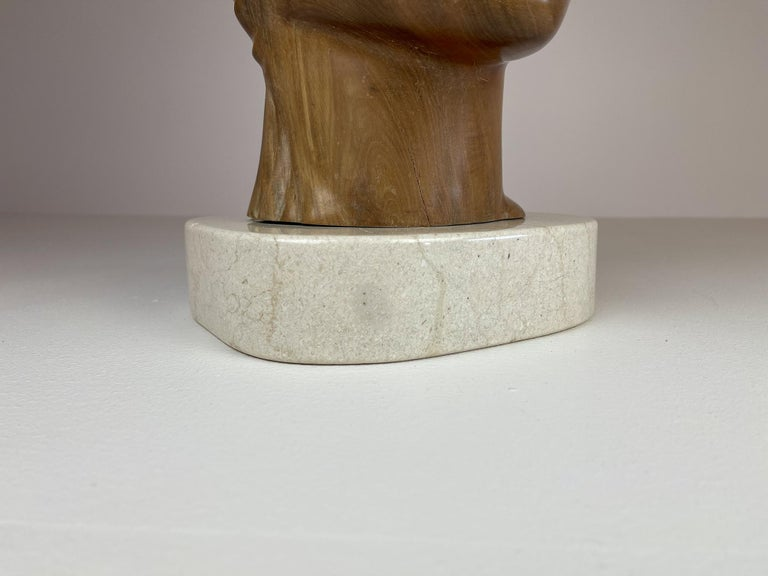 Large and Heavy Sculpture of a Female Face in Mahogany For Sale 8
