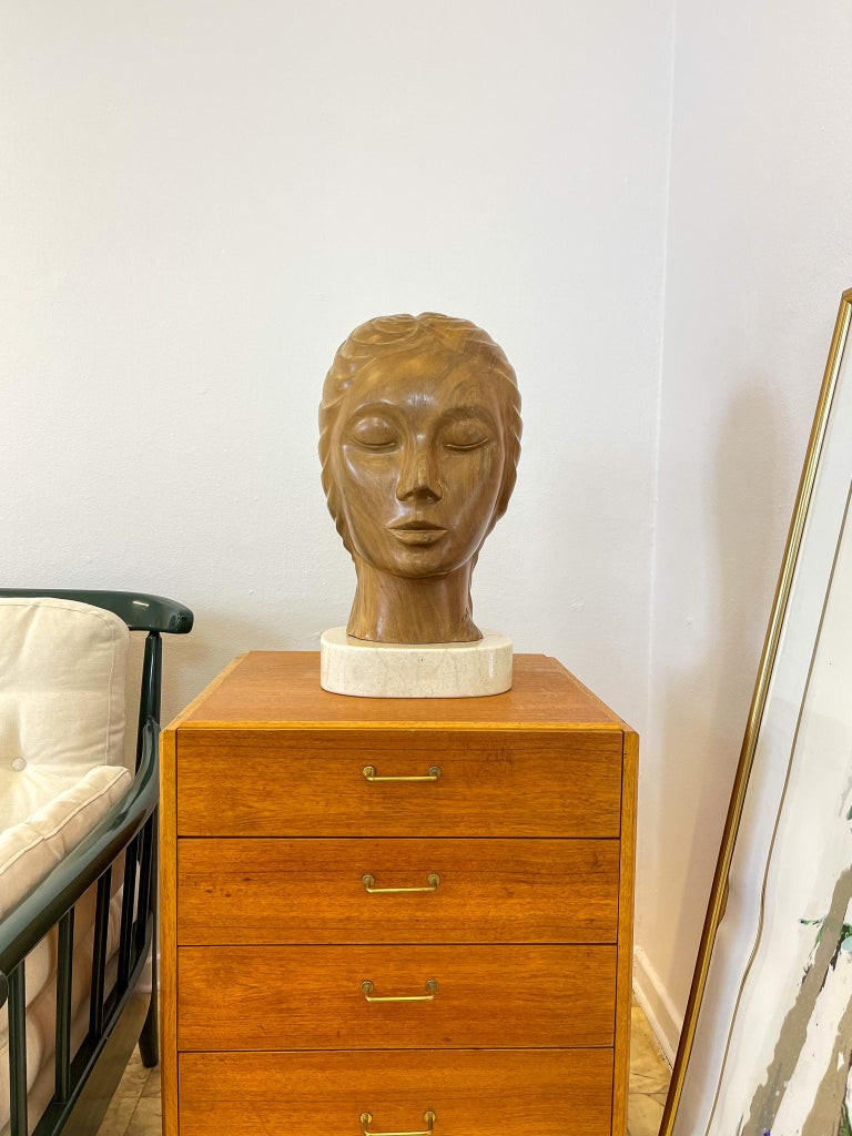 Large and Heavy Sculpture of a Female Face in Mahogany For Sale 10