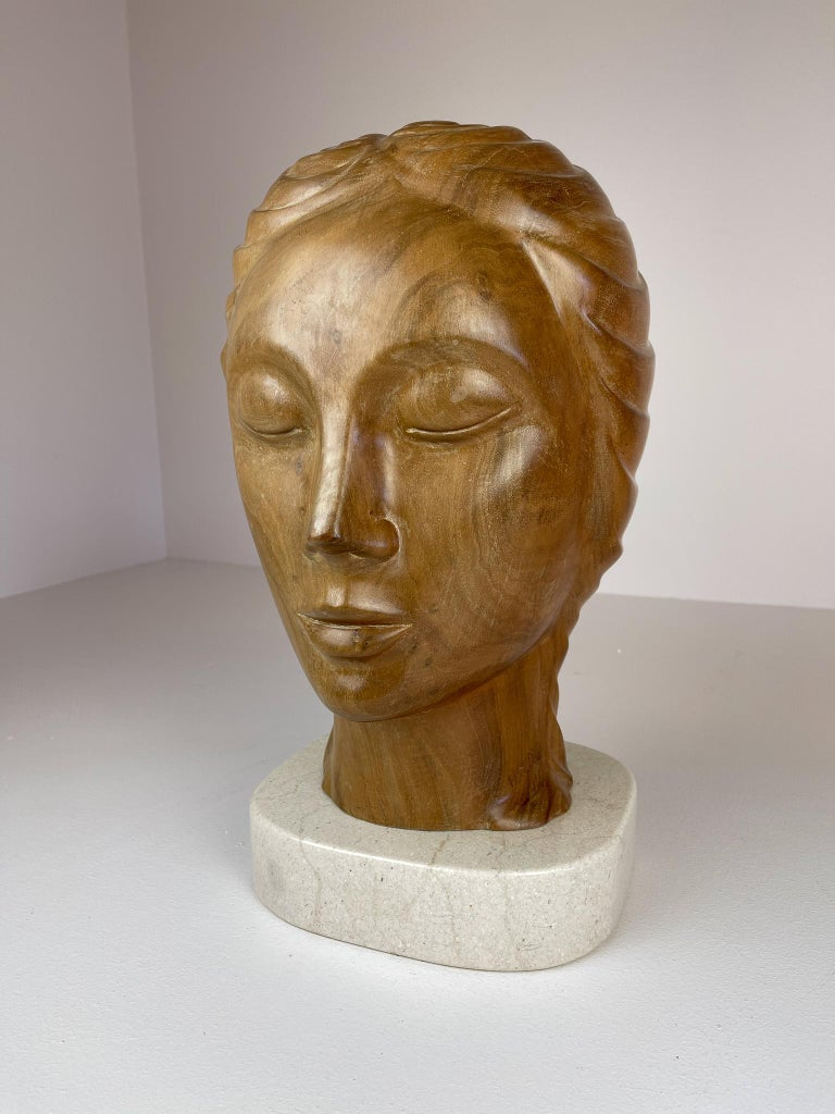 Arts and Crafts Large and Heavy Sculpture of a Female Face in Mahogany For Sale