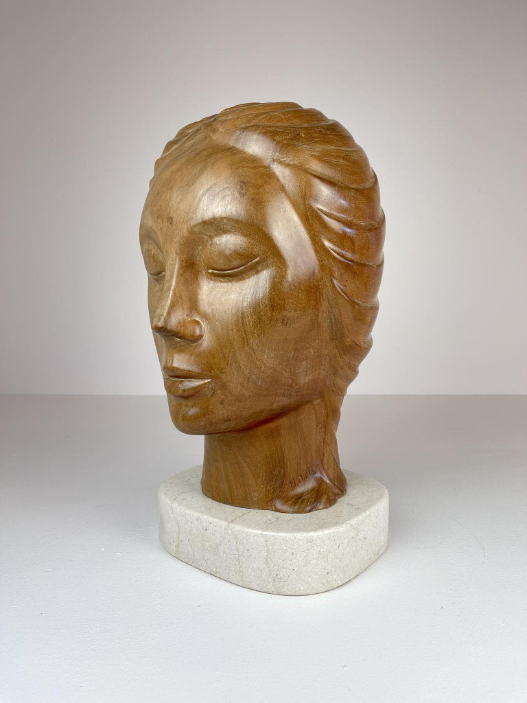Dominican Large and Heavy Sculpture of a Female Face in Mahogany For Sale