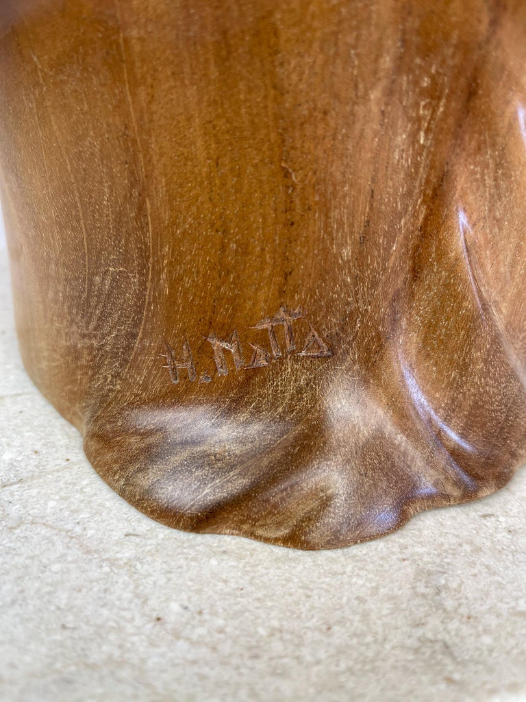 Large and Heavy Sculpture of a Female Face in Mahogany In Good Condition For Sale In Langserud, SE