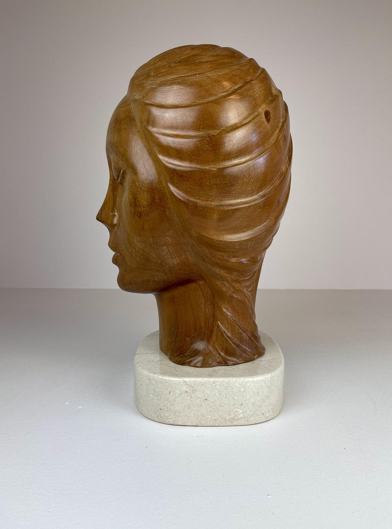 Late 20th Century Large and Heavy Sculpture of a Female Face in Mahogany For Sale