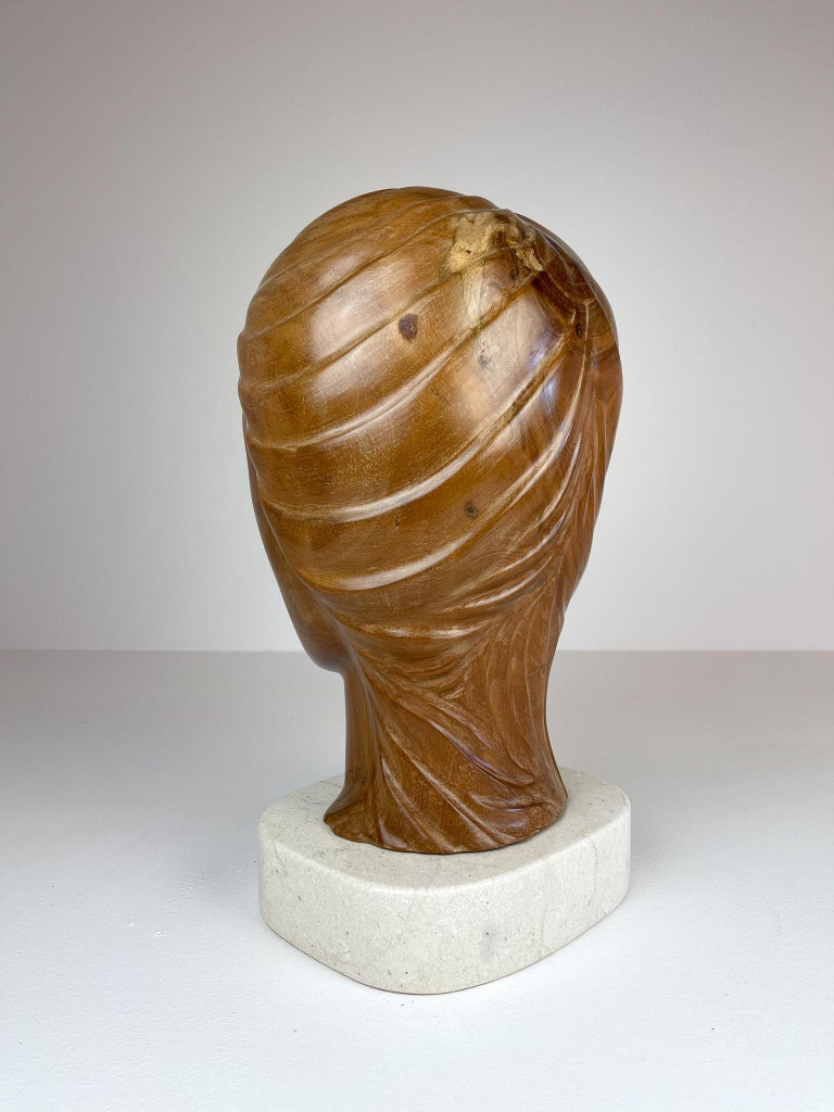 Large and Heavy Sculpture of a Female Face in Mahogany For Sale 1
