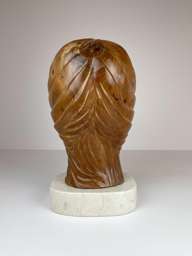 Large and Heavy Sculpture of a Female Face in Mahogany For Sale 2