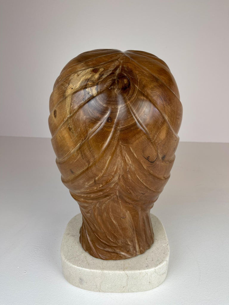 Large and Heavy Sculpture of a Female Face in Mahogany For Sale 3