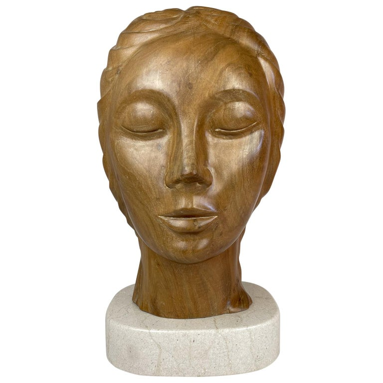 Large and Heavy Sculpture of a Female Face in Mahogany For Sale