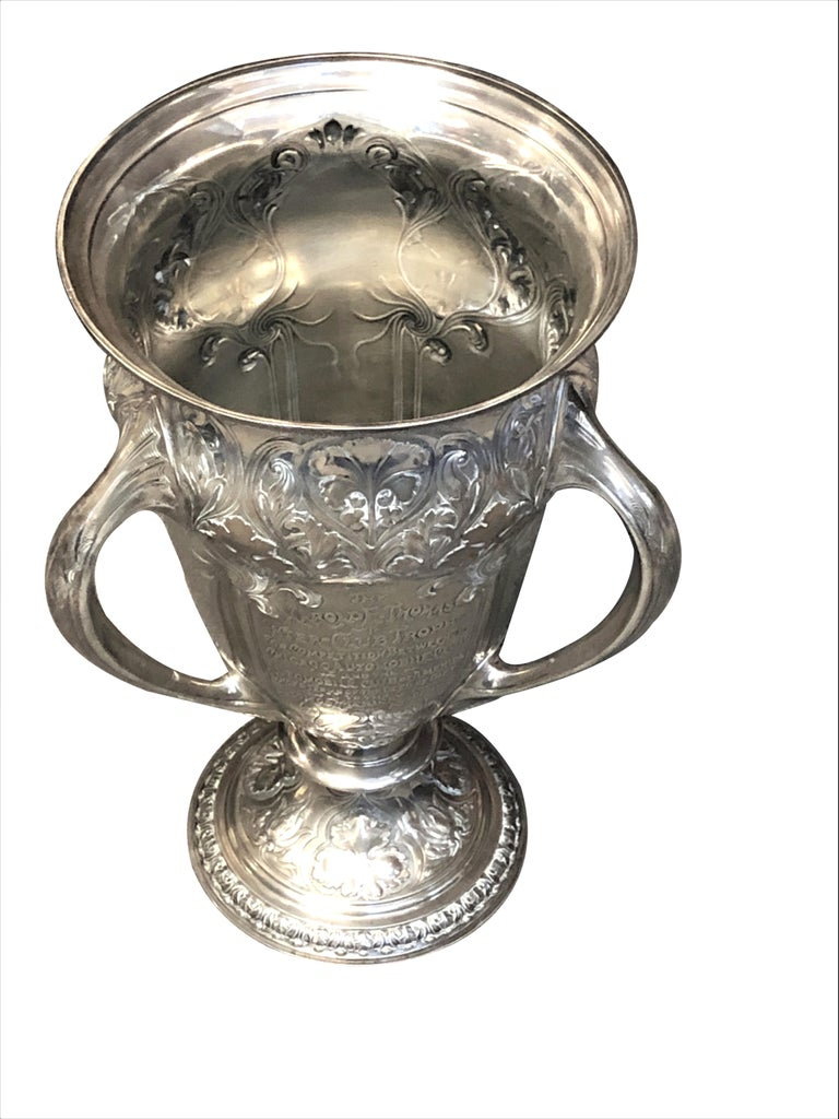 Large and Historically important Gorham Sterling 1905 Automobile Race Trophy Cup For Sale 3