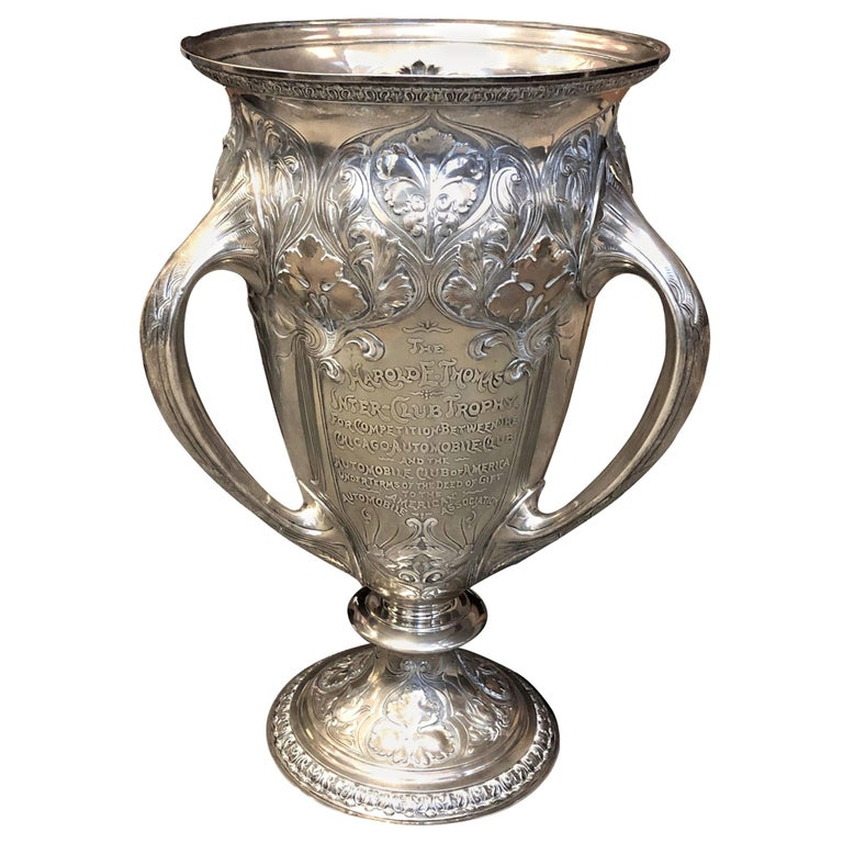 Large and Historically important Gorham Sterling 1905 Automobile Race Trophy Cup For Sale