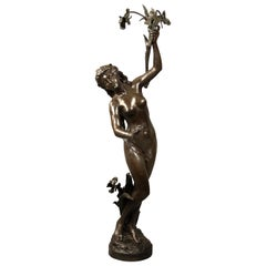 Large and Important Late 19th Century Bronze Sculpture of a Woman, Louis Gossin