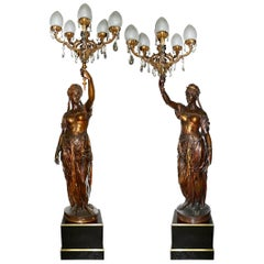 Large and Important Pair of 19th Century Bronze Candelabra, by Barbedienne