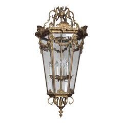 Large and Imposing Gilded Cast Brass Six Light Lantern