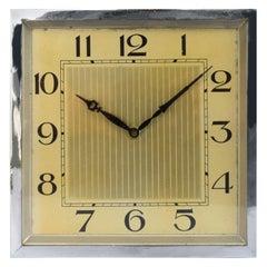 Large and Impressive 1930s Art Deco Chrome Mantle Clock