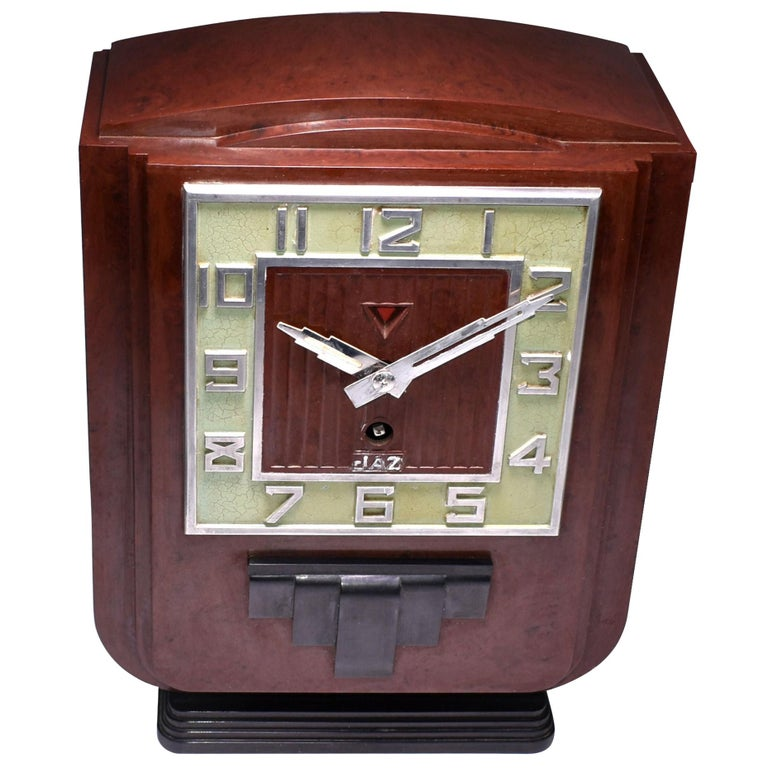 Large and Impressive 1930s Art Deco Red Bakelite Mantel Clock by JAZ For Sale