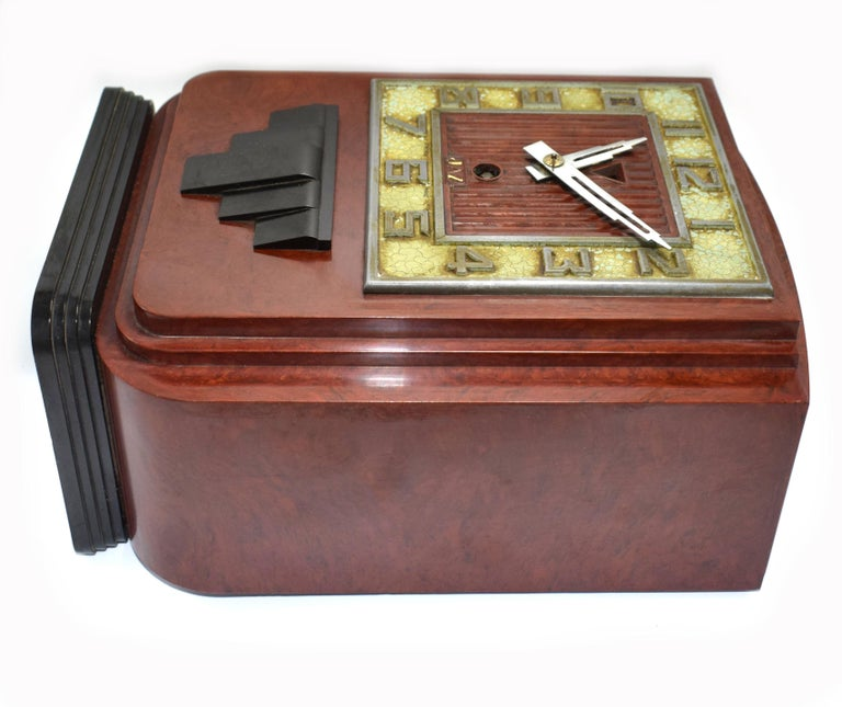 Large and Impressive 1930s Art Deco Red Bakelite Mantle Clock by JAZ For Sale 1