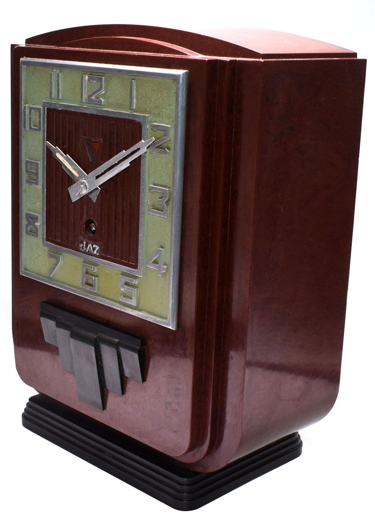 Large and Impressive 1930s Art Deco Red Bakelite Mantel Clock by JAZ For Sale 1