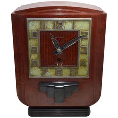 Large and Impressive 1930s Art Deco Red Bakelite Mantle Clock by JAZ