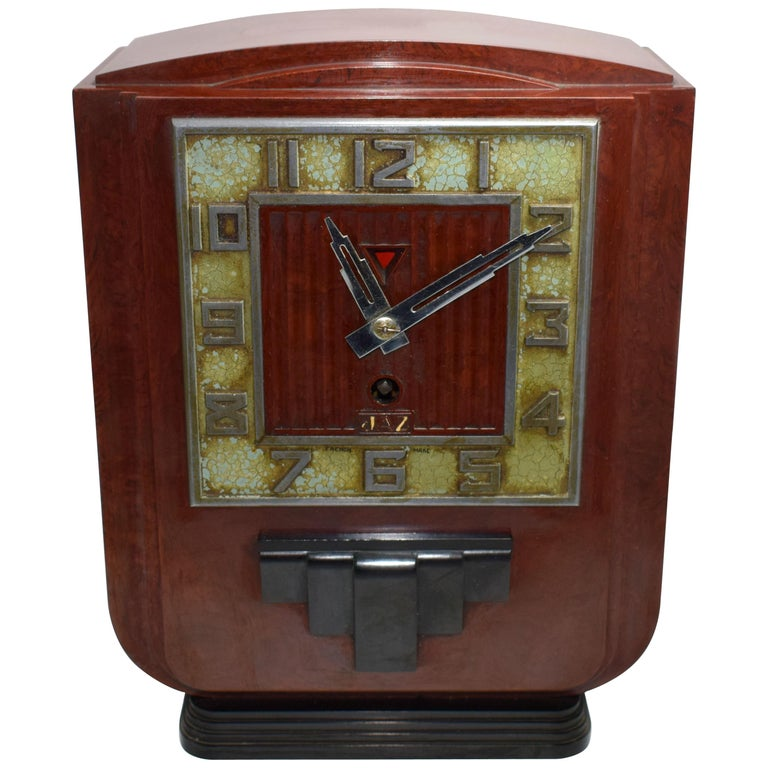 Large and Impressive 1930s Art Deco Red Bakelite Mantle Clock by JAZ For Sale