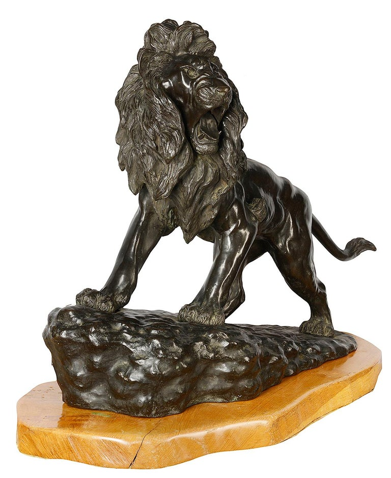 Large and Impressive 19th Century Japanese Meiji Period Bronze Lion on Stand For Sale 1