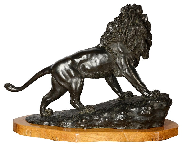 Large and Impressive 19th Century Japanese Meiji Period Bronze Lion on Stand For Sale 2