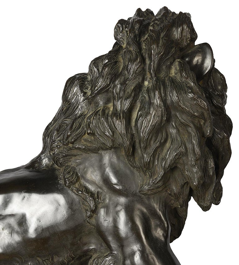 Large and Impressive 19th Century Japanese Meiji Period Bronze Lion on Stand For Sale 3