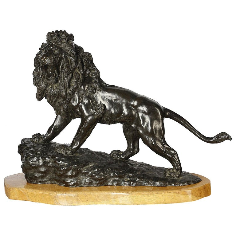 Large and Impressive 19th Century Japanese Meiji Period Bronze Lion on Stand For Sale