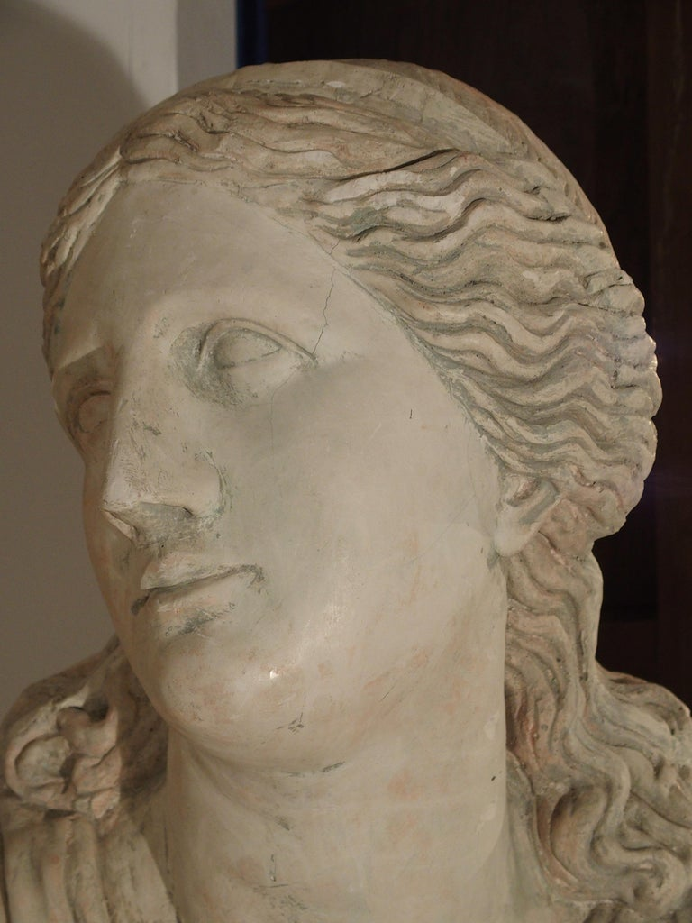 Large and Impressive 19th Century Plaster Bust of Niobe For Sale 4