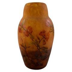 Large and Impressive Daum Nancy Art Nouveau Vase in Mouth Blown Art Glass