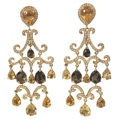Large and Impressive Gold Diamond and Citrine Chandelier Earrings