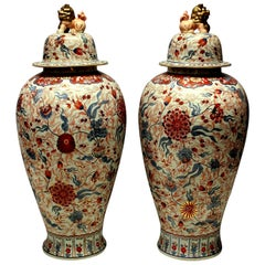 Large and Impressive Pair of Imari Floor Vases with Covers