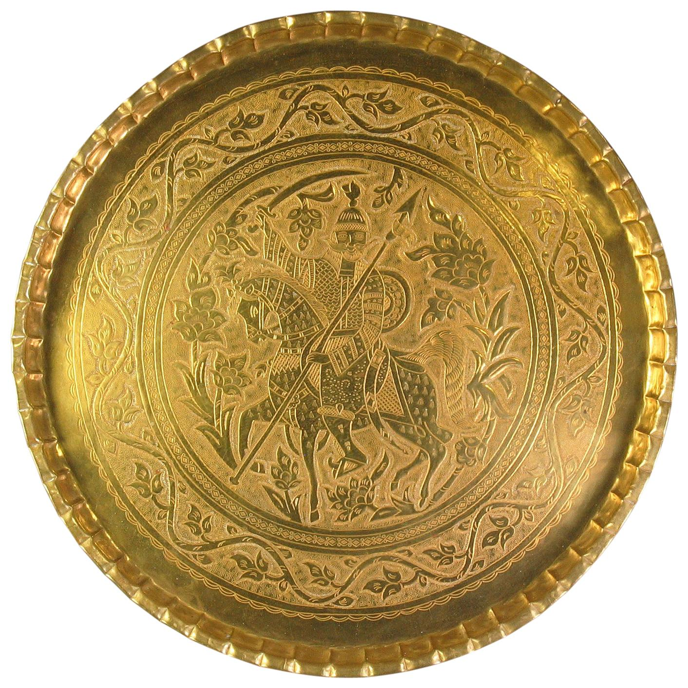 Large and Impressive Qajar Circular Brass Tray with Persian Warrior