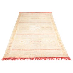 Large and Intricate Soumak Area Rug in Neutral Tones, Beige, Green and Red