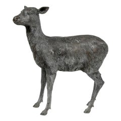 Large and Naturalistic Leonardo Rossi Bronze Doe Garden Sculpture